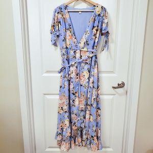 Francesca's Blue Floral Victoria Ruffle Wrap Dress